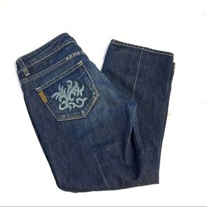 Paige Laurel canyon crop jeans embroidered sz 28